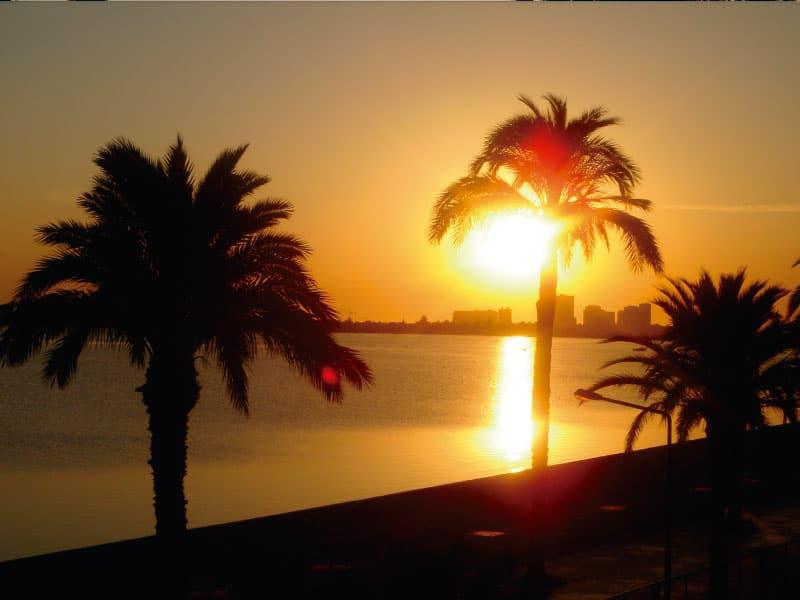 Blazing sunrise in Playa Honda (view from balcony)