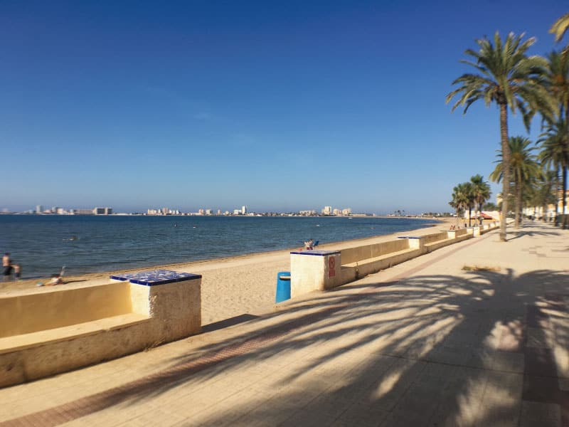 Beach promenade outside building (direction La Manga)