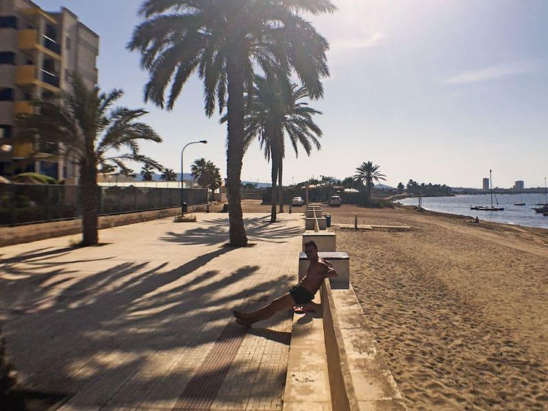 Beach promenade outside building