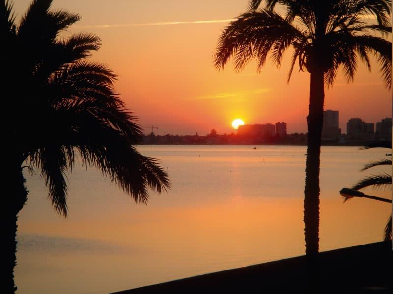 Red sunrise in Playa Honda
