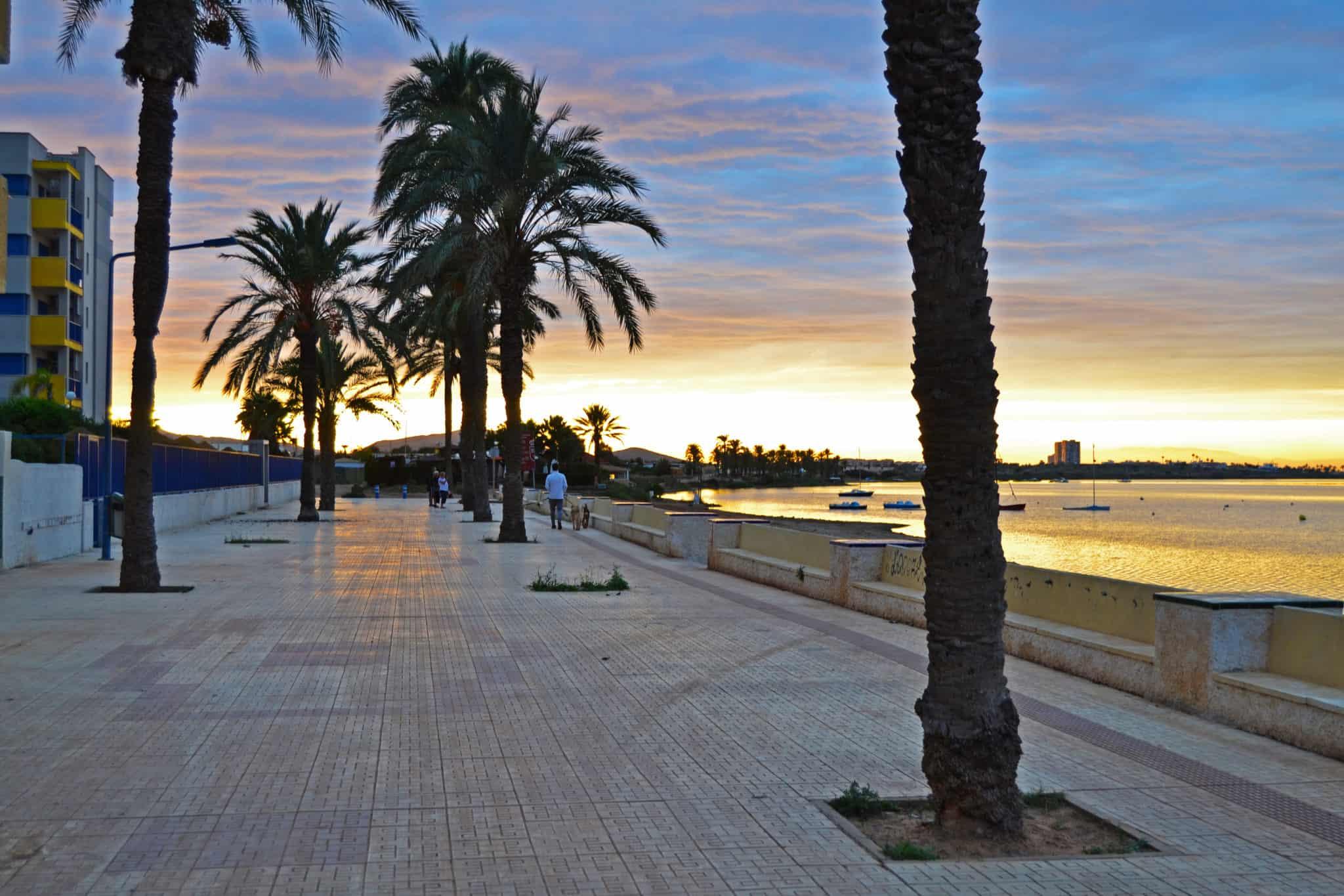 Sunset on the Playa Honda promenade