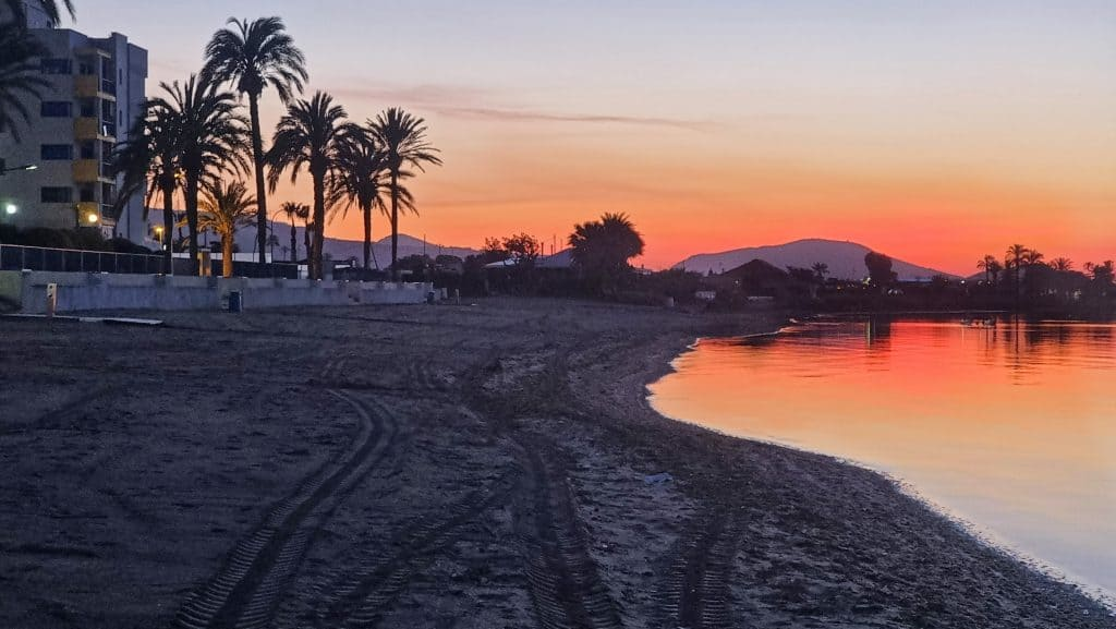 Verdemar 2 building red sunset on the beach in Playa Honda